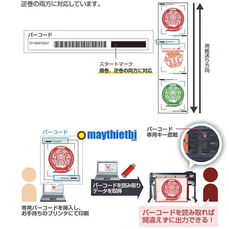 Tính năng cắt không cần máy tính, chỉ cần USB và cắt file có mã vạch định dạng của máy cắt decal Graphtec FC9000