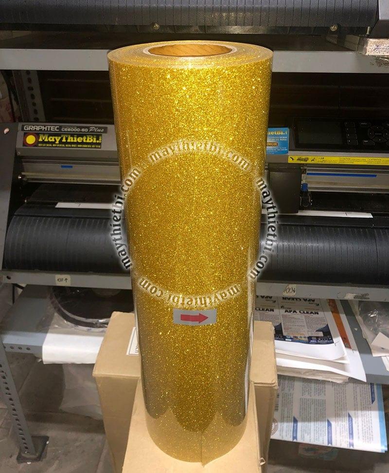 Decal ép áo kim tuyến vàng - gold glitter vinyl