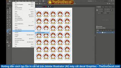 Hướng dẫn cách tạo file cắt bế decal trên Adobe Illustrator (AI) máy cắt Graphtec